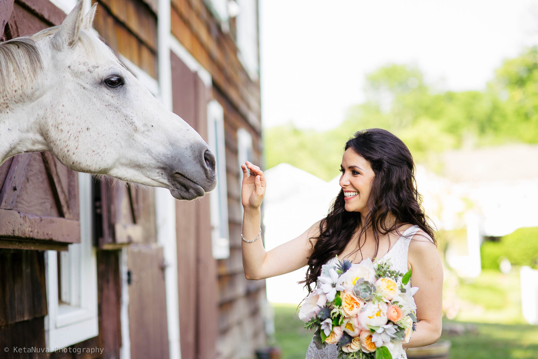 "The bride having a candid moment with one of the horses in the farm. "" width=""1860"" height="